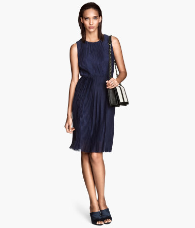Pleated Dress - style: shift; fit: fitted at waist; pattern: plain; sleeve style: sleeveless; waist detail: elasticated waist; predominant colour: navy; occasions: evening, work, occasion, creative work; length: just above the knee; fibres: polyester/polyamide - 100%; neckline: crew; back detail: keyhole/peephole detail at back; sleeve length: sleeveless; texture group: sheer fabrics/chiffon/organza etc.; pattern type: fabric; trends: powerful pleats; season: s/s 2014