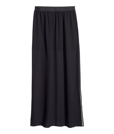Maxi Skirt - pattern: plain; fit: loose/voluminous; waist: high rise; predominant colour: black; occasions: evening, creative work; length: floor length; style: maxi skirt; fibres: polyester/polyamide - 100%; waist detail: feature waist detail; texture group: sheer fabrics/chiffon/organza etc.; pattern type: fabric; season: s/s 2014