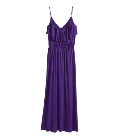 + Maxi Dress - neckline: low v-neck; sleeve style: spaghetti straps; pattern: plain; style: maxi dress; length: ankle length; waist detail: elasticated waist; predominant colour: aubergine; occasions: casual, evening, holiday; fit: body skimming; fibres: viscose/rayon - 100%; hip detail: subtle/flattering hip detail; sleeve length: sleeveless; bust detail: bulky details at bust; pattern type: fabric; texture group: jersey - stretchy/drapey; season: s/s 2014; wardrobe: highlight