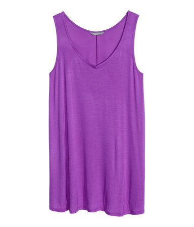 + Jersey Tunic - neckline: low v-neck; pattern: plain; sleeve style: sleeveless; length: below the bottom; style: tunic; predominant colour: magenta; occasions: casual; fibres: viscose/rayon - 100%; fit: body skimming; sleeve length: sleeveless; pattern type: fabric; texture group: jersey - stretchy/drapey; trends: hot brights; season: s/s 2014