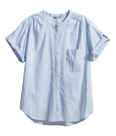 + Cotton Blouse - neckline: round neck; pattern: plain; style: blouse; predominant colour: pale blue; occasions: casual, creative work; length: standard; fibres: cotton - 100%; fit: straight cut; sleeve length: short sleeve; sleeve style: standard; texture group: cotton feel fabrics; pattern type: fabric; season: s/s 2014
