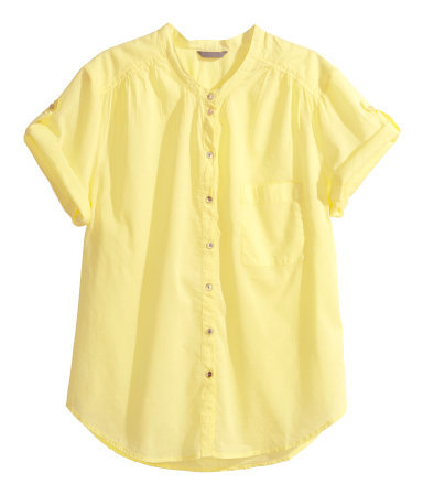 + Cotton Blouse - neckline: v-neck; pattern: plain; style: blouse; predominant colour: yellow; occasions: casual, creative work; length: standard; fibres: cotton - 100%; fit: straight cut; sleeve length: short sleeve; sleeve style: standard; texture group: cotton feel fabrics; pattern type: fabric; trends: sorbet shades; season: s/s 2014