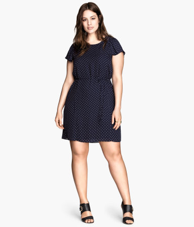 + Spotted Dress - style: shift; length: mid thigh; neckline: round neck; pattern: polka dot; predominant colour: navy; occasions: casual, evening, creative work; fit: body skimming; fibres: polyester/polyamide - 100%; sleeve length: short sleeve; sleeve style: standard; texture group: crepes; pattern type: fabric; season: s/s 2014