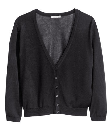 + Fine Knit Cardigan - neckline: v-neck; pattern: plain; predominant colour: black; occasions: casual, work, creative work; length: standard; style: standard; fibres: silk - mix; fit: standard fit; sleeve length: long sleeve; sleeve style: standard; texture group: knits/crochet; pattern type: knitted - fine stitch; season: s/s 2014