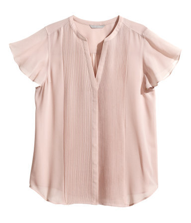+ Butterfly Sleeve Blouse - sleeve style: angel/waterfall; pattern: plain; style: blouse; predominant colour: blush; occasions: casual, evening, creative work; length: standard; neckline: collarstand & mandarin with v-neck; fibres: polyester/polyamide - 100%; fit: loose; sleeve length: short sleeve; texture group: sheer fabrics/chiffon/organza etc.; trends: sorbet shades; season: s/s 2014