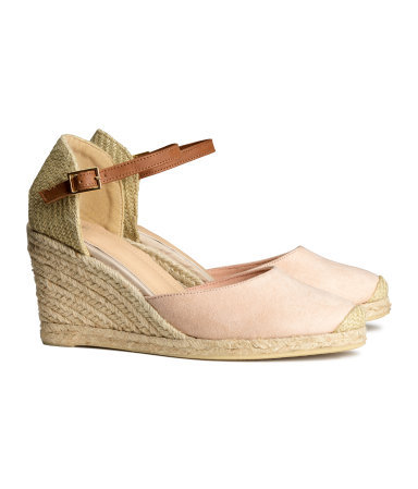 Wedge Heel Espadrilles - predominant colour: nude; secondary colour: stone; occasions: casual, holiday; material: fabric; heel height: high; ankle detail: ankle strap; heel: wedge; toe: round toe; finish: plain; pattern: colourblock; style: espadrilles; season: s/s 2014