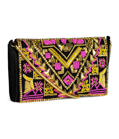 Beaded Clutch Bag - secondary colour: hot pink; predominant colour: gold; occasions: evening, occasion; type of pattern: standard; style: clutch; length: hand carry; size: standard; embellishment: beading; finish: plain; pattern: patterned/print; material: faux suede; season: s/s 2014