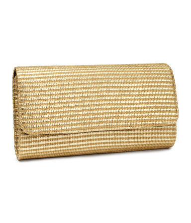 Straw Clutch - predominant colour: gold; occasions: evening, occasion; type of pattern: standard; style: clutch; length: hand carry; size: standard; material: macrame/raffia/straw; pattern: plain; finish: metallic; season: s/s 2014