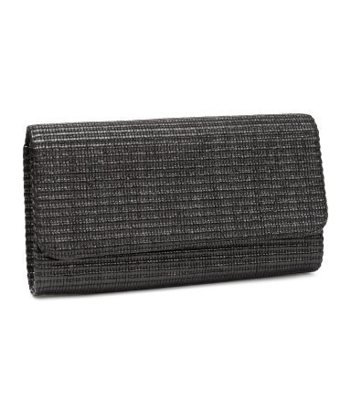Straw Clutch - predominant colour: black; occasions: evening, occasion; type of pattern: standard; style: clutch; length: hand carry; size: standard; material: macrame/raffia/straw; pattern: plain; finish: plain; season: s/s 2014