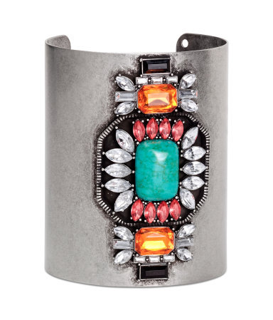 Cuff Bracelet - secondary colour: turquoise; predominant colour: silver; occasions: evening, holiday, creative work; style: cuff; size: standard; material: chain/metal; finish: metallic; embellishment: jewels/stone; season: s/s 2014