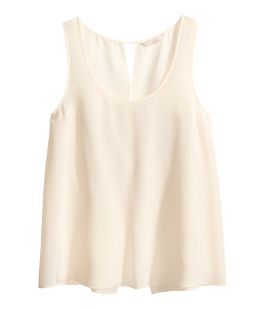 Silk Top - pattern: plain; sleeve style: sleeveless; style: vest top; predominant colour: nude; occasions: casual, evening, creative work; length: standard; neckline: scoop; fibres: silk - 100%; fit: body skimming; sleeve length: sleeveless; texture group: silky - light; pattern type: fabric; season: s/s 2014