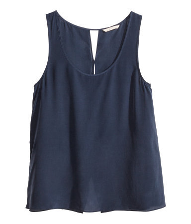 Silk Top - pattern: plain; sleeve style: sleeveless; style: vest top; predominant colour: navy; occasions: casual, evening, creative work; length: standard; neckline: scoop; fibres: silk - 100%; fit: body skimming; sleeve length: sleeveless; texture group: silky - light; pattern type: fabric; season: s/s 2014