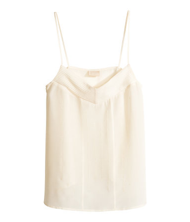 Silk Top - neckline: low v-neck; sleeve style: spaghetti straps; pattern: plain; predominant colour: ivory/cream; occasions: casual, evening, creative work; length: standard; style: top; fibres: silk - 100%; fit: straight cut; sleeve length: sleeveless; texture group: silky - light; pattern type: fabric; season: s/s 2014