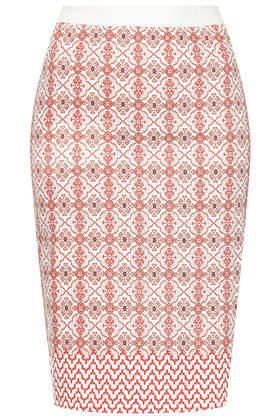 Moto Tile Print Pencil Skirt - style: pencil; fit: tight; waist: high rise; predominant colour: pink; secondary colour: nude; occasions: casual, evening, creative work; length: on the knee; fibres: cotton - stretch; texture group: denim; pattern type: fabric; pattern: patterned/print; season: s/s 2014; pattern size: big & busy (bottom)