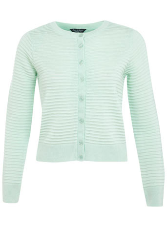 Mint Ottoman Cardi - neckline: round neck; pattern: plain; length: cropped; predominant colour: pale blue; occasions: casual, work, creative work; style: standard; fibres: acrylic - 100%; fit: standard fit; sleeve length: long sleeve; sleeve style: standard; texture group: knits/crochet; pattern type: knitted - fine stitch; trends: sorbet shades; season: s/s 2014