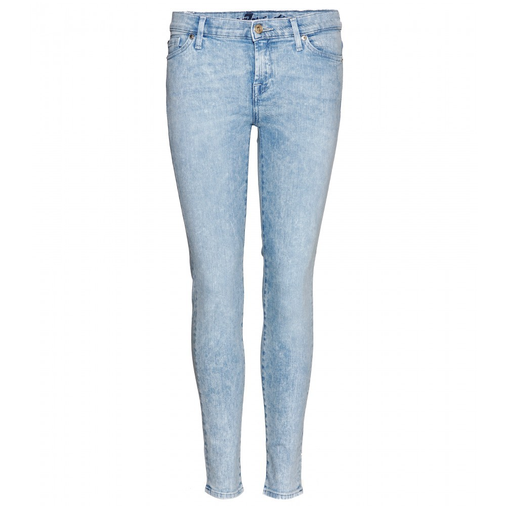 The Skinny Crop Jeans - style: skinny leg; length: standard; pattern: plain; pocket detail: traditional 5 pocket; waist: mid/regular rise; predominant colour: pale blue; occasions: casual, creative work; fibres: cotton - stretch; jeans detail: shading down centre of thigh; texture group: denim; pattern type: fabric; season: s/s 2014