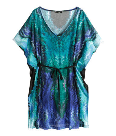 Beach Tunic - neckline: low v-neck; sleeve style: dolman/batwing; length: below the bottom; style: tunic; waist detail: belted waist/tie at waist/drawstring; predominant colour: emerald green; occasions: casual, holiday; fibres: polyester/polyamide - 100%; fit: body skimming; sleeve length: short sleeve; texture group: sheer fabrics/chiffon/organza etc.; pattern type: fabric; pattern size: standard; pattern: patterned/print; season: s/s 2014; multicoloured: multicoloured; wardrobe: highlight