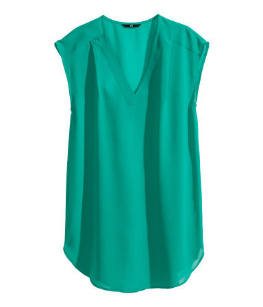 Sleeveless Blouse - neckline: low v-neck; pattern: plain; sleeve style: sleeveless; length: below the bottom; predominant colour: emerald green; occasions: casual, creative work; style: top; fibres: polyester/polyamide - 100%; fit: loose; sleeve length: sleeveless; texture group: sheer fabrics/chiffon/organza etc.; pattern type: fabric; trends: hot brights; season: s/s 2014