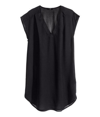 Sleeveless Blouse - neckline: low v-neck; sleeve style: capped; pattern: plain; length: below the bottom; style: blouse; predominant colour: black; occasions: casual, evening, creative work; fibres: polyester/polyamide - 100%; fit: straight cut; sleeve length: short sleeve; texture group: sheer fabrics/chiffon/organza etc.; pattern type: fabric; trends: sheer; season: s/s 2014