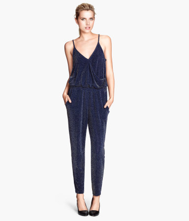 Glittery Jumpsuit - length: standard; neckline: v-neck; sleeve style: spaghetti straps; fit: fitted at waist; pattern: plain; waist detail: elasticated waist; bust detail: subtle bust detail; predominant colour: navy; occasions: evening, occasion; fibres: polyester/polyamide - stretch; sleeve length: sleeveless; style: jumpsuit; pattern type: fabric; texture group: jersey - stretchy/drapey; embellishment: glitter; season: s/s 2014; wardrobe: event; embellishment location: all over