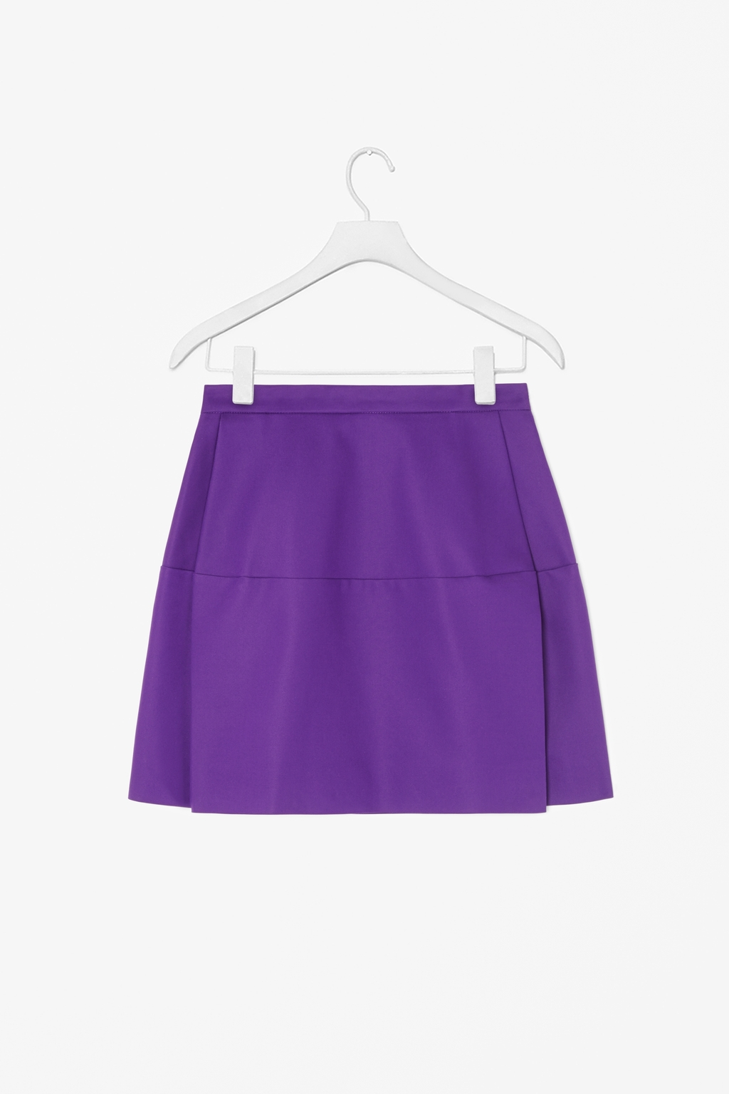 Short Panelled Skirt - length: mini; pattern: plain; fit: loose/voluminous; waist: mid/regular rise; predominant colour: purple; occasions: casual, evening; style: a-line; fibres: cotton - mix; pattern type: fabric; texture group: jersey - stretchy/drapey; season: s/s 2014