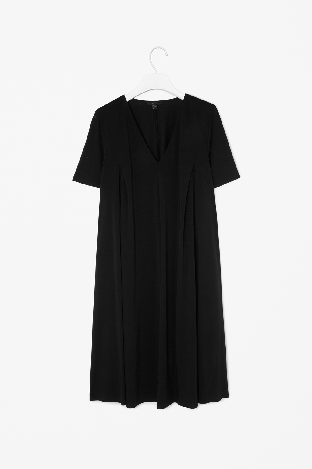 Dress With V Neckline - style: trapeze; neckline: low v-neck; fit: loose; pattern: plain; predominant colour: black; occasions: casual, evening, creative work; length: just above the knee; sleeve length: short sleeve; sleeve style: standard; pattern type: fabric; texture group: jersey - stretchy/drapey; fibres: viscose/rayon - mix; season: s/s 2014