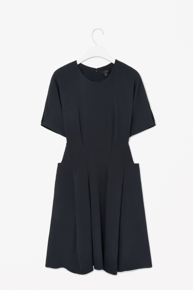 Pleated Waist Dress - pattern: plain; predominant colour: navy; occasions: casual, evening, creative work; length: just above the knee; fit: fitted at waist & bust; style: fit & flare; fibres: viscose/rayon - stretch; neckline: crew; sleeve length: short sleeve; sleeve style: standard; pattern type: fabric; texture group: other - light to midweight; season: s/s 2014