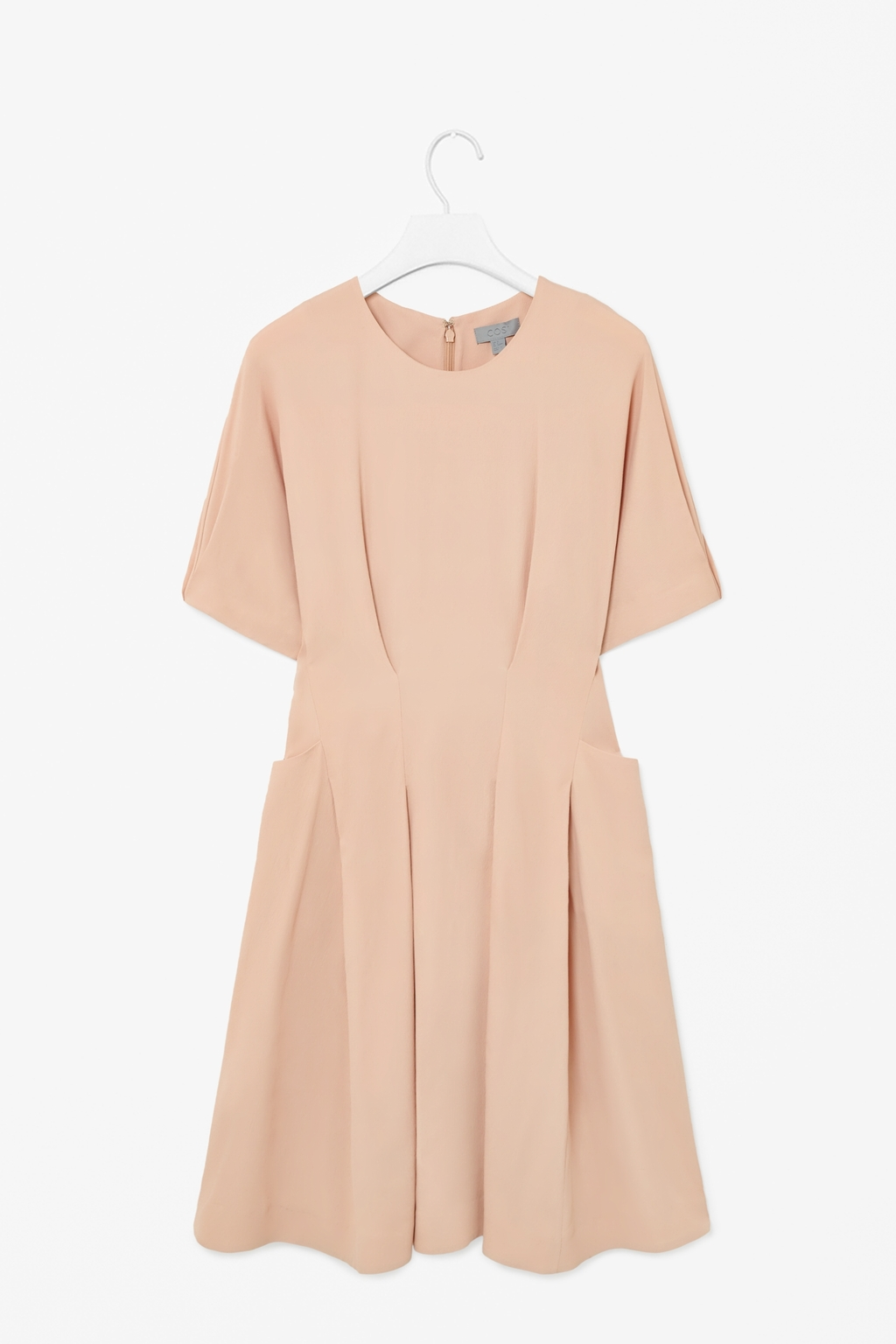 Pleated Waist Dress - pattern: plain; predominant colour: nude; length: just above the knee; fit: fitted at waist & bust; style: fit & flare; fibres: viscose/rayon - stretch; neckline: crew; hip detail: adds bulk at the hips; sleeve length: short sleeve; sleeve style: standard; pattern type: fabric; texture group: other - light to midweight; occasions: creative work; trends: sorbet shades; season: s/s 2014