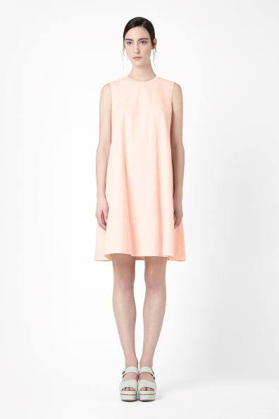 Ribbed Neckline Dress - style: trapeze; fit: loose; pattern: plain; sleeve style: sleeveless; predominant colour: blush; occasions: casual, creative work; length: just above the knee; fibres: cotton - 100%; neckline: crew; sleeve length: sleeveless; pattern type: fabric; texture group: other - light to midweight; season: s/s 2014