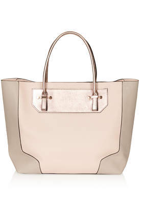 Saffiano Tote Bag - predominant colour: nude; secondary colour: taupe; occasions: casual, work, creative work; type of pattern: light; style: tote; length: handle; size: standard; material: faux leather; finish: plain; pattern: colourblock; season: s/s 2014