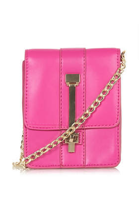 Metal Bar Crossbody Bag - predominant colour: hot pink; occasions: casual, creative work; type of pattern: standard; style: clutch; length: across body/long; size: standard; material: faux leather; pattern: plain; finish: plain; embellishment: chain/metal; season: s/s 2014