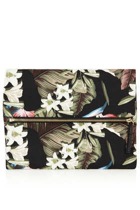 Floral Printed Clutch - secondary colour: sage; predominant colour: black; occasions: evening, occasion; type of pattern: heavy; style: clutch; length: hand carry; size: standard; material: fabric; pattern: florals; finish: patent; trends: furious florals; season: s/s 2014