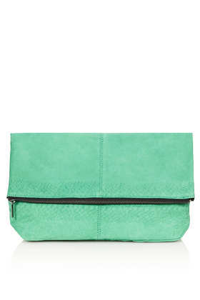 Suede Embossed Snake Clutch Bag - predominant colour: mint green; occasions: casual, evening, occasion; type of pattern: standard; style: clutch; length: hand carry; size: small; material: leather; pattern: plain; finish: plain; trends: hot brights; season: s/s 2014