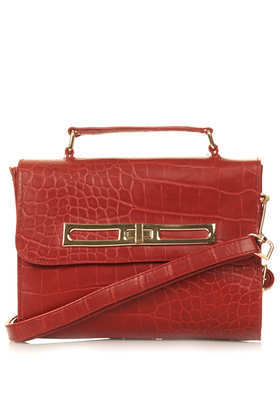 Smart Croc Crossbody Bag - predominant colour: terracotta; occasions: casual, work, creative work; type of pattern: standard; style: messenger; length: across body/long; size: standard; material: faux leather; pattern: plain; finish: plain; trends: hot brights; season: s/s 2014