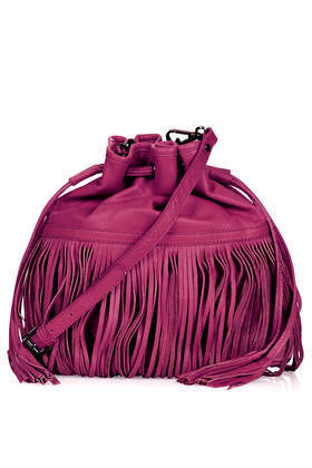 Leather Mix Fringe Duffle Bag - predominant colour: magenta; occasions: casual, creative work; type of pattern: standard; style: onion bag; length: across body/long; size: standard; material: leather; embellishment: fringing; pattern: plain; finish: plain; season: s/s 2014