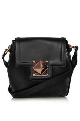 Hex Leather Crossbody Bag - predominant colour: black; occasions: casual, work, creative work; type of pattern: standard; style: shoulder; length: across body/long; size: small; material: leather; pattern: plain; finish: plain; season: s/s 2014