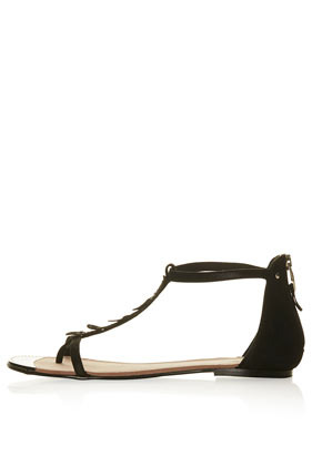 **El Paso Flat Sandals Cjg - predominant colour: black; occasions: casual, holiday; material: leather; heel height: flat; ankle detail: ankle strap; heel: standard; toe: toe thongs; style: standard; finish: plain; pattern: plain; embellishment: chain/metal; season: s/s 2014