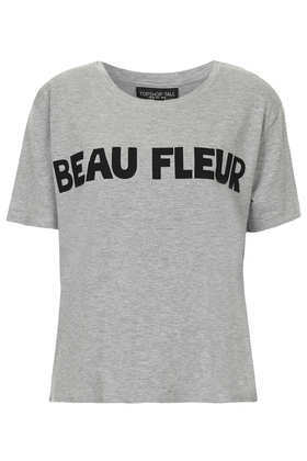 Tall Beau Fleur Slogan Tee - style: t-shirt; predominant colour: mid grey; secondary colour: black; occasions: casual; length: standard; fibres: polyester/polyamide - stretch; fit: body skimming; neckline: crew; sleeve length: short sleeve; sleeve style: standard; pattern type: fabric; texture group: jersey - stretchy/drapey; pattern: graphic/slogan; trends: logos; season: s/s 2014