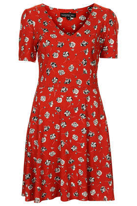 Tall Pansy Floral Dress - length: mid thigh; neckline: low v-neck; predominant colour: true red; secondary colour: mid grey; occasions: casual, evening, creative work; fit: fitted at waist & bust; style: fit & flare; fibres: viscose/rayon - stretch; sleeve length: short sleeve; sleeve style: standard; pattern type: fabric; pattern size: standard; pattern: florals; texture group: jersey - stretchy/drapey; season: s/s 2014
