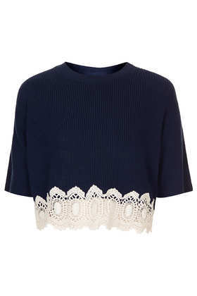 Tall Knitted Lace Hem Crop Jumper - pattern: plain; length: cropped; style: standard; secondary colour: ivory/cream; predominant colour: navy; occasions: casual; fibres: cotton - mix; fit: standard fit; neckline: crew; sleeve length: half sleeve; sleeve style: standard; texture group: knits/crochet; pattern type: knitted - fine stitch; embellishment: lace; season: s/s 2014; wardrobe: highlight; embellishment location: hem