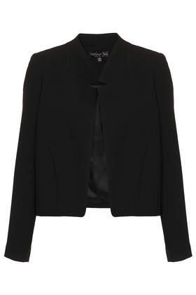 Tall Crepe Notch Neck Jacket - pattern: plain; style: single breasted blazer; collar: round collar/collarless; predominant colour: black; occasions: casual, creative work; length: standard; fit: straight cut (boxy); fibres: polyester/polyamide - 100%; sleeve length: long sleeve; sleeve style: standard; collar break: low/open; pattern type: fabric; texture group: woven light midweight; season: s/s 2014