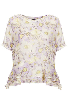 Tall Floral Double Hem Tee - neckline: round neck; style: t-shirt; waist detail: peplum waist detail; secondary colour: lilac; predominant colour: primrose yellow; occasions: casual; length: standard; fibres: polyester/polyamide - 100%; fit: straight cut; sleeve length: short sleeve; sleeve style: standard; texture group: sheer fabrics/chiffon/organza etc.; pattern type: fabric; pattern: florals; trends: furious florals; season: s/s 2014; pattern size: big & busy (top)