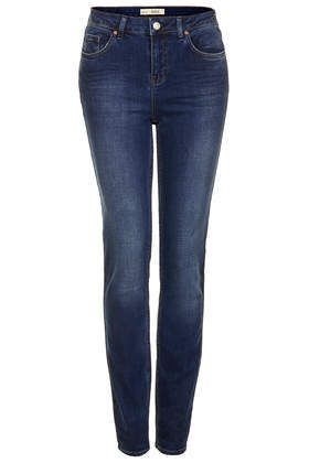 Tall Moto New Dark Vintage Jeans - style: skinny leg; length: standard; pattern: plain; pocket detail: traditional 5 pocket; waist: mid/regular rise; predominant colour: navy; occasions: casual, creative work; fibres: cotton - stretch; jeans detail: shading down centre of thigh; texture group: denim; pattern type: fabric; season: s/s 2014