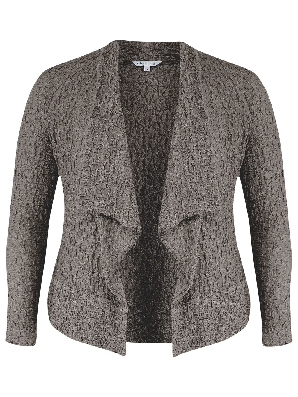 Bubble Jacket - pattern: plain; style: bolero/shrug; collar: shawl/waterfall; fit: slim fit; predominant colour: charcoal; occasions: casual, creative work; length: standard; fibres: cotton - stretch; sleeve length: 3/4 length; sleeve style: standard; collar break: low/open; pattern type: fabric; texture group: other - light to midweight; season: s/s 2014