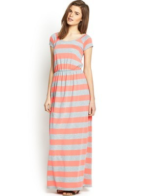 Stripe Maxi Dress, Coral - neckline: round neck; pattern: horizontal stripes; style: maxi dress; secondary colour: coral; predominant colour: nude; occasions: casual, holiday; length: floor length; fit: body skimming; fibres: cotton - 100%; sleeve length: short sleeve; sleeve style: standard; pattern type: fabric; pattern size: standard; texture group: jersey - stretchy/drapey; season: s/s 2014