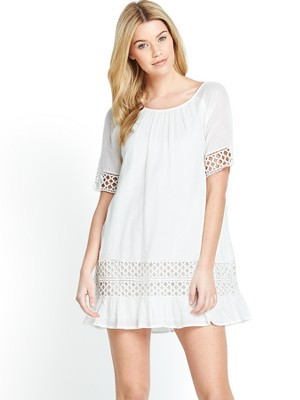 Rays Tunic Dress, White - style: tunic; length: mini; neckline: round neck; fit: loose; pattern: plain; predominant colour: white; occasions: casual; fibres: cotton - 100%; sleeve length: short sleeve; sleeve style: standard; texture group: cotton feel fabrics; pattern type: fabric; season: s/s 2014