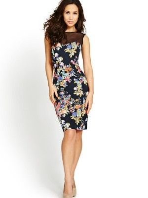 Mesh Yoke Floral Print Dress, Blue - style: shift; fit: tight; sleeve style: sleeveless; shoulder detail: contrast pattern/fabric at shoulder; predominant colour: navy; secondary colour: nude; occasions: evening; length: on the knee; fibres: cotton - stretch; neckline: crew; sleeve length: sleeveless; texture group: jersey - clingy; pattern type: fabric; pattern size: big & busy; pattern: florals; trends: furious florals; season: s/s 2014