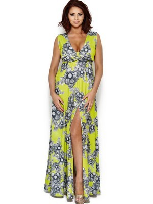 Jewel Print Maxi Dress - neckline: low v-neck; fit: empire; sleeve style: sleeveless; style: maxi dress; predominant colour: lime; secondary colour: sage; occasions: casual, evening, holiday; length: floor length; fibres: polyester/polyamide - stretch; sleeve length: sleeveless; pattern type: fabric; pattern size: big & busy; pattern: patterned/print; texture group: jersey - stretchy/drapey; season: s/s 2014