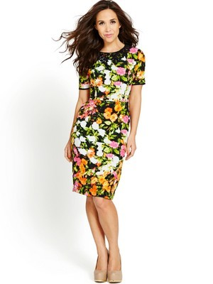 Printed Dress With Lace Collar, Orange - neckline: round neck; fit: tailored/fitted; predominant colour: mustard; secondary colour: dark green; occasions: casual, evening, creative work; length: just above the knee; style: fit & flare; fibres: polyester/polyamide - 100%; sleeve length: short sleeve; sleeve style: standard; pattern type: fabric; pattern size: standard; pattern: florals; texture group: other - light to midweight; trends: furious florals; season: s/s 2014