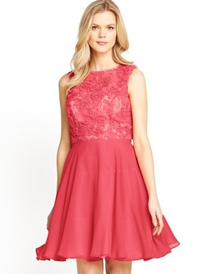 3 D Lace Top Prom Dress, Coral - length: mid thigh; sleeve style: sleeveless; predominant colour: coral; occasions: evening, occasion; fit: fitted at waist & bust; style: fit & flare; fibres: polyester/polyamide - 100%; neckline: crew; sleeve length: sleeveless; texture group: lace; pattern type: fabric; pattern: patterned/print; embellishment: lace; season: s/s 2014; wardrobe: event; embellishment location: top
